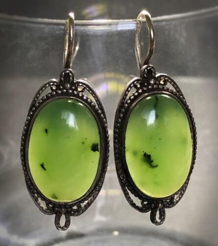 ANTIQUE EDWARDIAN Apple Green JADEITE JADE Sterling Silver Large Drop Earrings