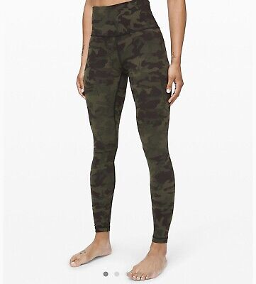 "Lululemon Wunder Under HR 28"" Fullon Lux SZ 8 Camo Green *NWT*"