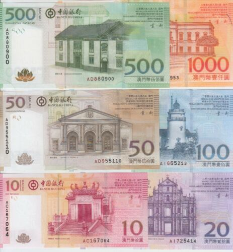 Macao P108-113 Full 2008 Banco Da China set 10,20-50-100-500-1,000 Patacas, UNC