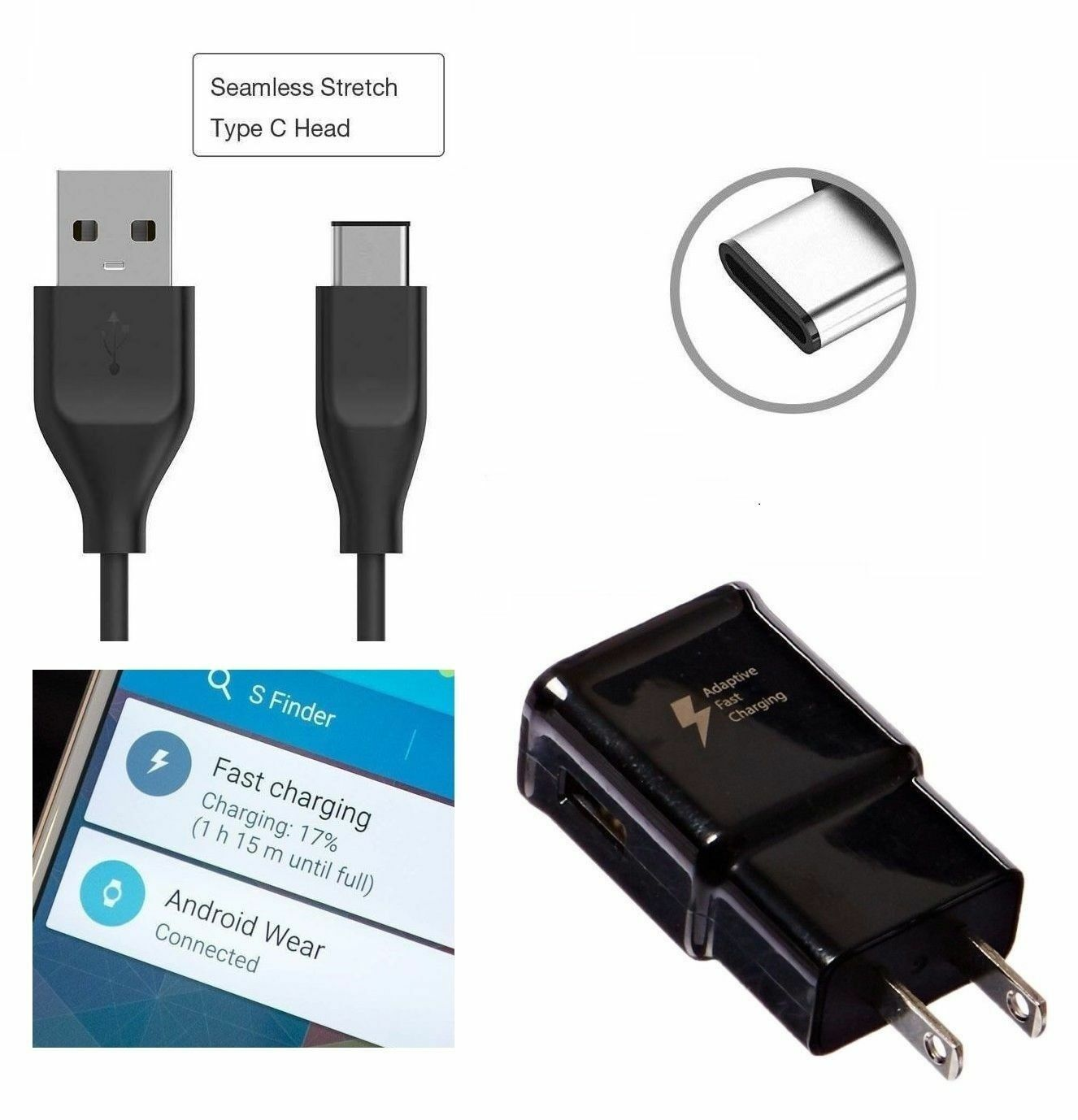 Fast Charge Wall Charger with Cable for Samsung – Black