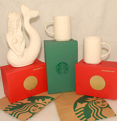 STARBUCKS - 2017  Virtuous Floral Embossed COFFEE CUPS MUGS 12 oz NEW SET of 2 RARE