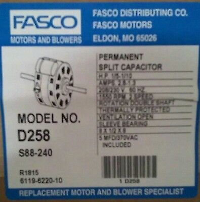 Fasco D258 Double Shaft 2 Speed Fan Coil Motor 15-110hp 1550 Rpm 208230v New
