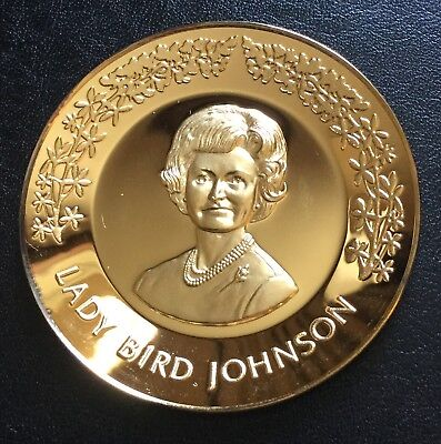 First Lady Lady Bird Johnson Sterling Silver Miniature Plate Medal Medallion
