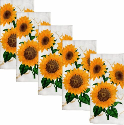 "5 pc SAME PRINTED TERRY KITCHEN TOWELS SET, 15"" x 25"", 3 LARGE SUNFLOWERS, KC"