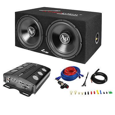 Audiopipe APSB-1299PP Loaded Dual 12 Subwoofer Amp und Wire Kit Car Audio Paket