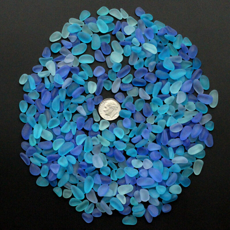 blue cobalt aqua sea beach glass small 50 pieces lots bulk 8-12mm jewelry use