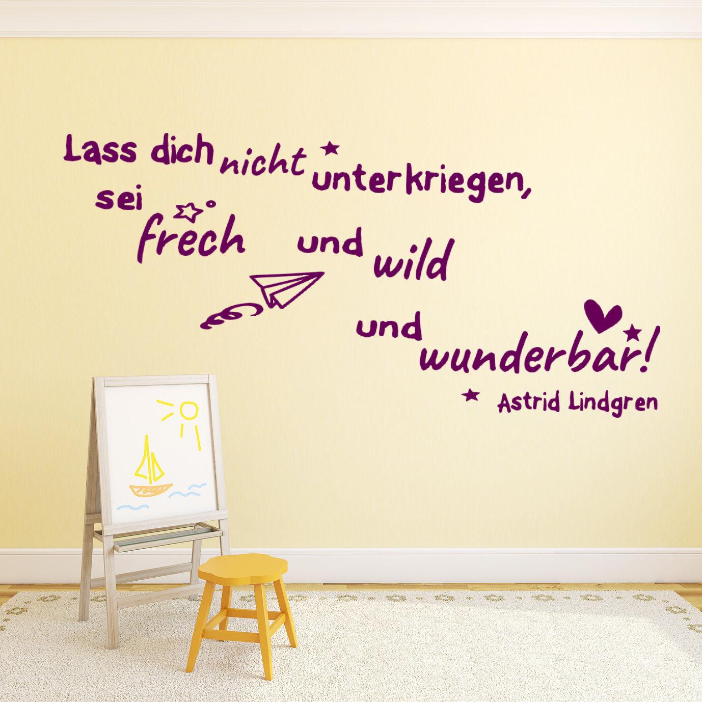 Wandtattoo fürs Kinderzimmer Mädchen Zitate von Astrid Lindgren Kinder Baby tk43