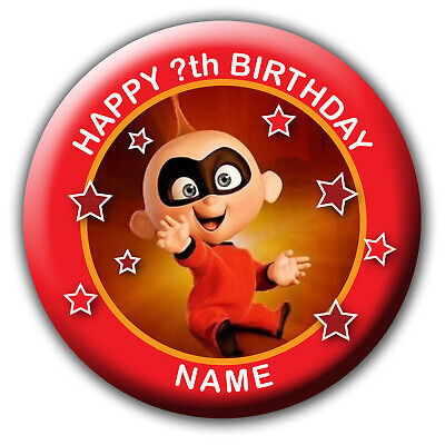 PERSONALISED INCREDIBLES BABY JACK JACK BIRTHDAY BADGE / MAGNET / MIRRORS