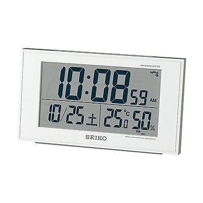 Seiko Japan Alarm Clock with Thermometer Temperature SQ758W White