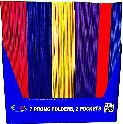 2 Pocket Folders With Prongs Asst. Colors In Display Case Pack Of 100