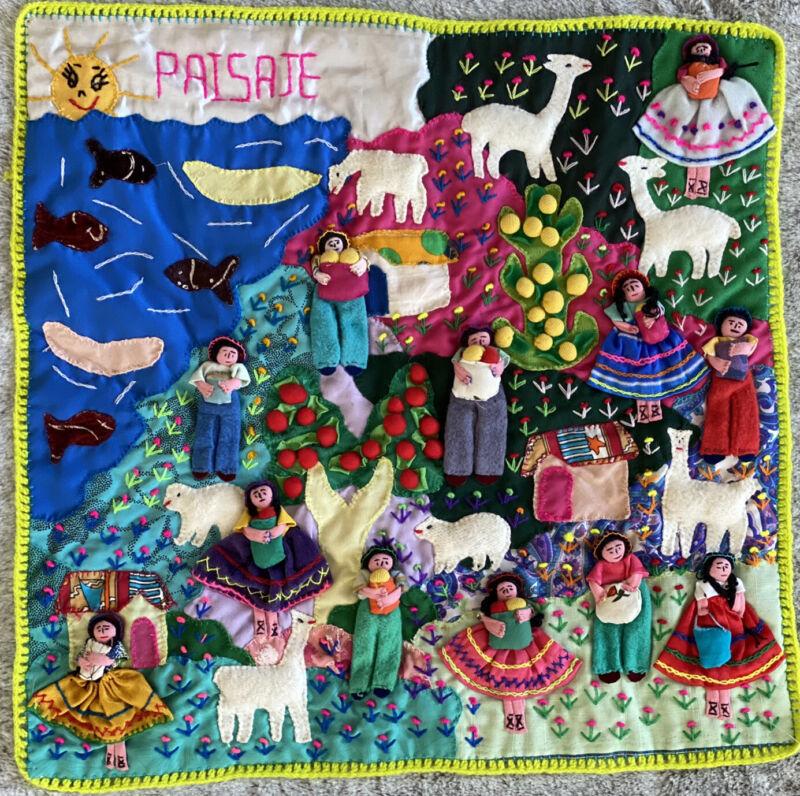 "Vintage PERUVIAN Handmade ARPILLERA Folk Art Wall Tapestry 19.5"" x 19.25"" Andes"