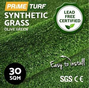 30 SQM Synthetic Artificial Grass Turf Plastic Olive Plant New