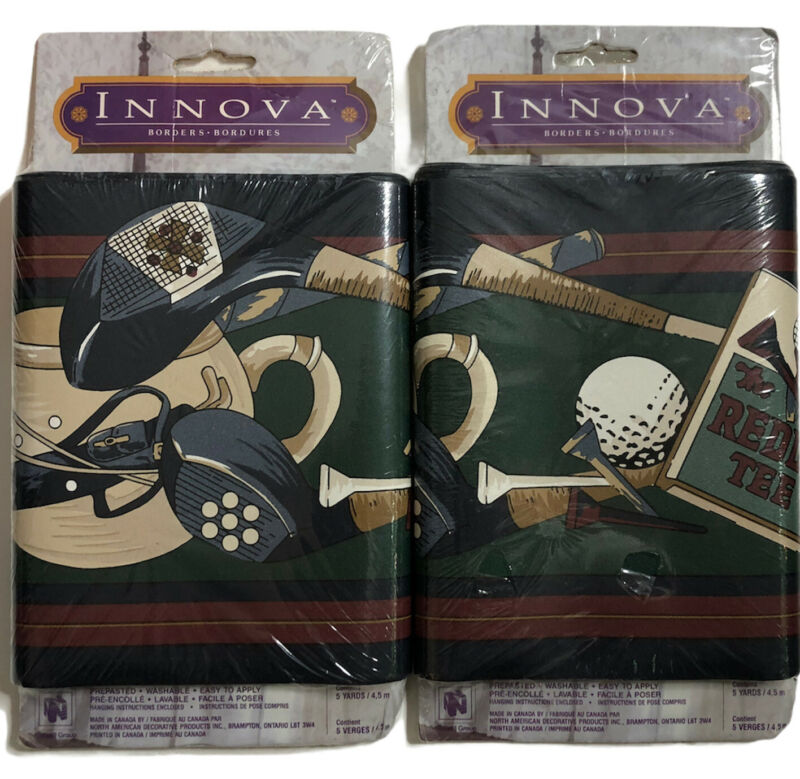 Lot of 2 GOLF CLUBS prepasted Wallpaper Border LM72512V Norwall man cave
