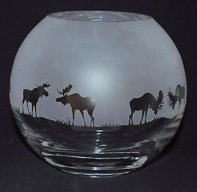 *MOOSE GIFT*  15cm Boxed CRYSTAL GLASS GLOBE VASE with MOOSE / ELK FRIEZE design