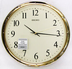 NEW SEIKO  GOLD TONE RIM WALL CLOCK, QUIET SWEEP , 12.2  DIAMETER  QXA417GLH