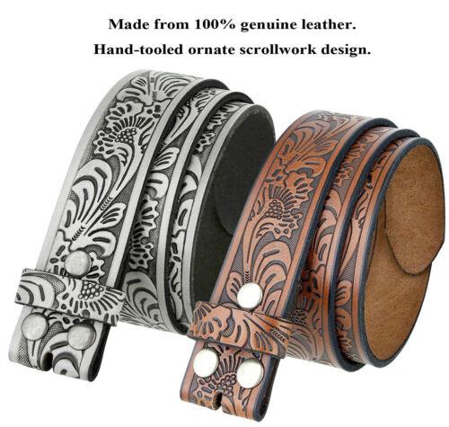 Western Floral Embossed Genuine Leather Belt Belt Strap 1-1/2