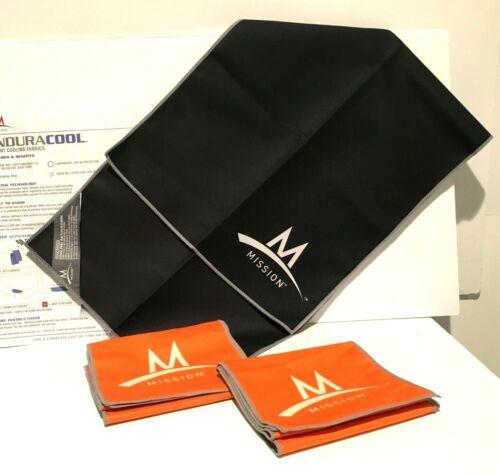 "3 MISSION~ENDURACOOL Microfiber Cooling Towel 42""x6"" Orange 30""x12"" Black"