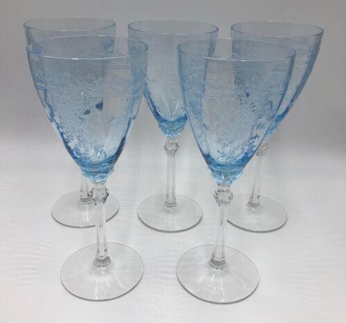 Fostoria Glass Elegant AZURE BLUE JUNE TALL GOBLETS - Set of 5  (274J)