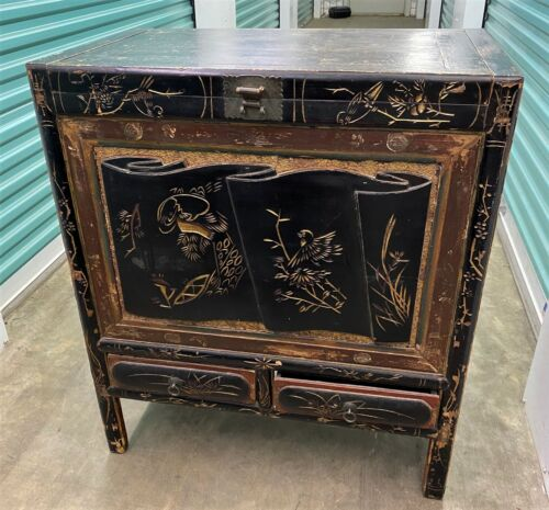Antique Oriental Carved Black Lacquer Cabinet Blanket Dowry Chest - WE SHIP!