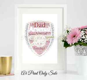 Personalised Football Arsenal Word Art A4 Gift Keepsake Print Father's Day