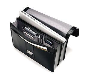 Samsonite Genuine Black Leather Messenger Briefcase Laptop Shoulder Bag Mens