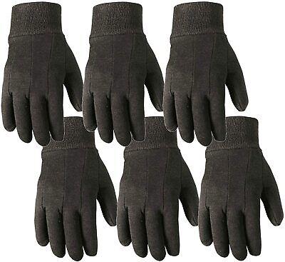6 Pair Gloves Bulk Pack Jersey Cotton Work Gardening Large Wells Lamont Brown