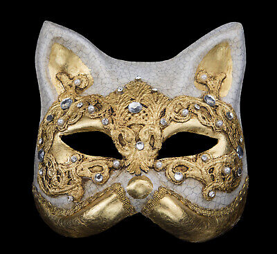 Mask from Venice Gatto Macrame Cat Golden Authentic in Paper Mache 194