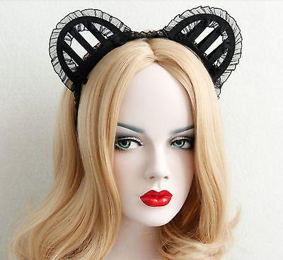 Halloween Cat Women Ears Lace Headband Crown Punk Gothic Emo Bat Queen Cosplay](Halloween Bat Ears)