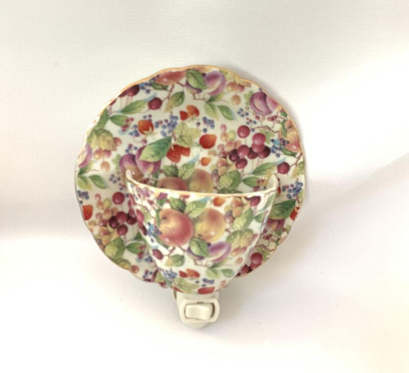 Porcelain Tea Cup Saucer Night Light Formalities Baum Bros Fruit Nightlight