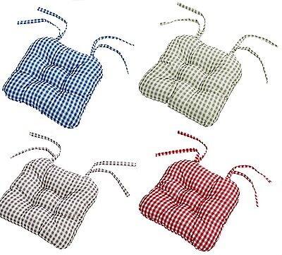 Gingham Garden , Dining Chair Seat Pads Cushions With Tie