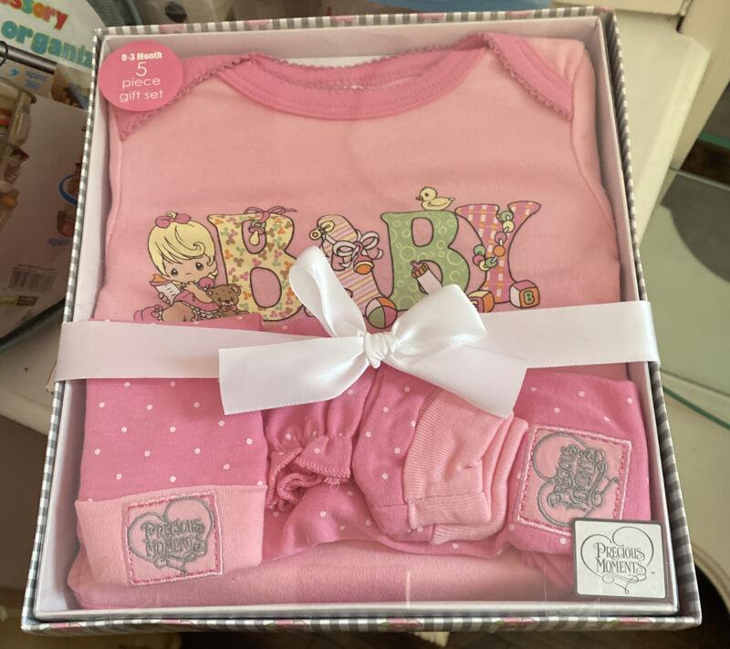 5-Piece Baby Girl Gift Set 0-3 Month Bodysuit Pant Cap Booties Mitts-100% Cotton