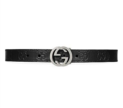 Gucci 175446 Kids Girls Signature Embossed Leather Belt Black Size Small