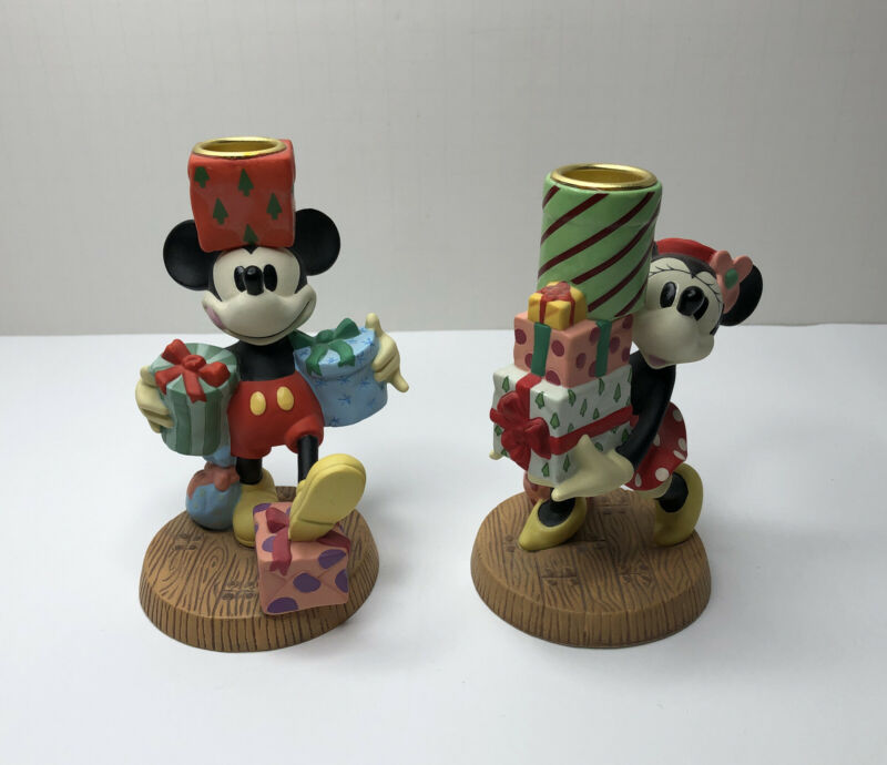 Disney Mickey & Minnie Mouse Christmas Candle Holders Figures Set Of 2 *Rare*