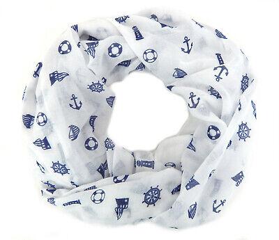 Ella Jonte Loop weiß blau Anker maritim Viskose Baumwolle Schal Damenschal neu