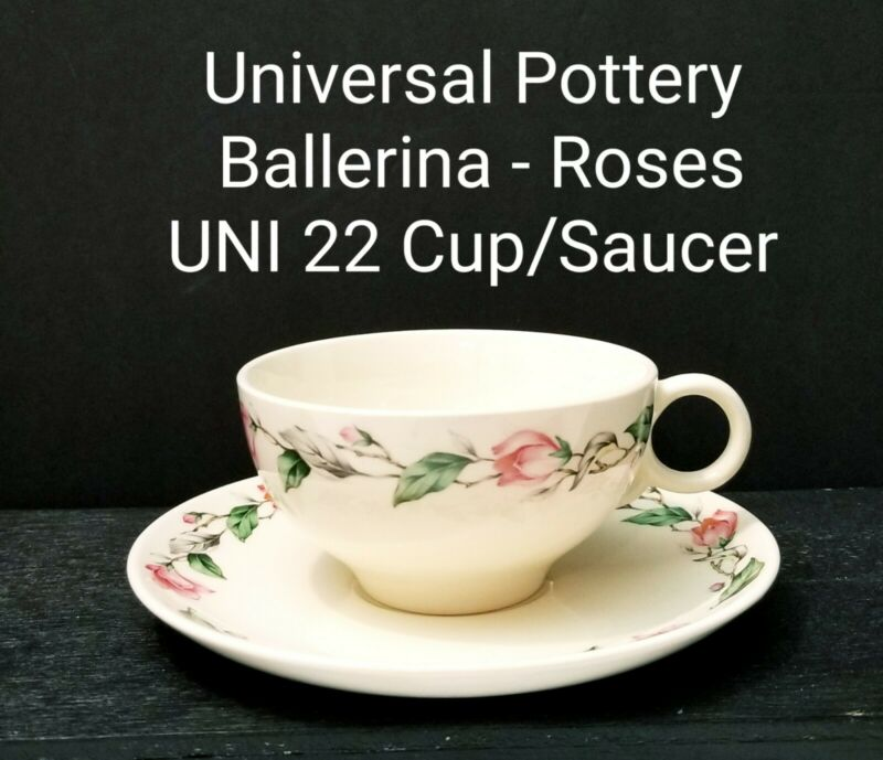 Vintage Universal Potteries BALLERINA Pattern UNI22 Cup & Saucer  Pink Roses