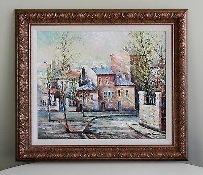 Lucien Delarue Paris Cityscape Montmartre Oil on Canvas Impressionist Painting