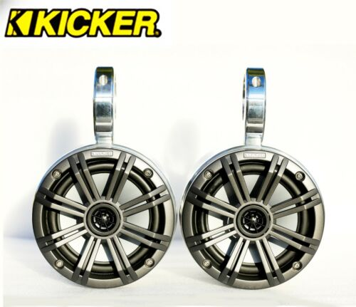 "Polished Wakeboard Speaker Kicker 45KM654CW 6.5"" Marine Speaker Installed"