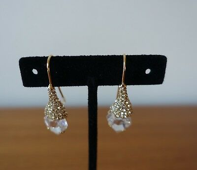 ALEXIS BITTAR PAVE CRYSTAL FRENCH HOOK GOLD PLATED DROP EARRINGS. NEW ()