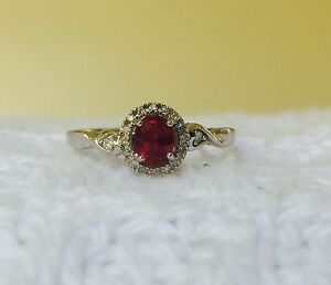 Womens unique Genuine red Ruby and halo Diamond Ring Sterling Silver 925