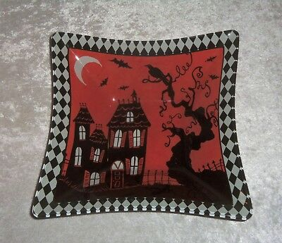 Prima Design Susan Winget HALLOWEEN Glass Square Candy Dish Haunted House Bats - Halloween Chalk Designs