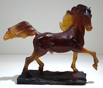 French Daum Nancy Pate de Verre Glass Horse Sculpture of Cheval Etalon 368/1000