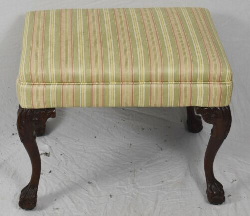 Upholstered Mahogany Carved Ball & Claw Chippendale Foot Stool or Bench