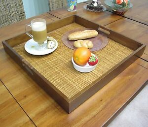 Wood-Wicker-Rattan-Fruit-Food-Square-Serving-Tray-Large-20-1-8-x-20-1-8