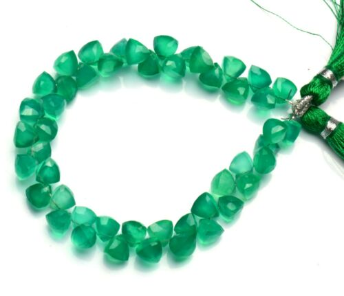 """Natural Gemstone Green Onyx Faceted 6mm Size 3D Trillion Shape Beads 7"""" Strand"""