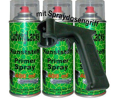 3 Lack (Kunststoffprimer 3x400ml Kunststoffgrundierung mit Haltegriff Autolack überlack)