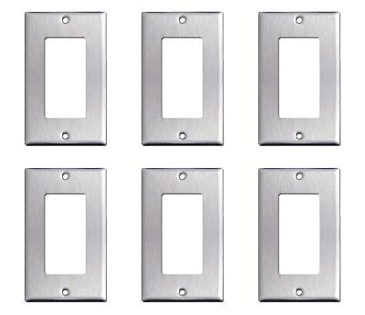 6 Pack GFI Single Rocker Satin Nickel Stainless Steel Wall Covers Switch Plates