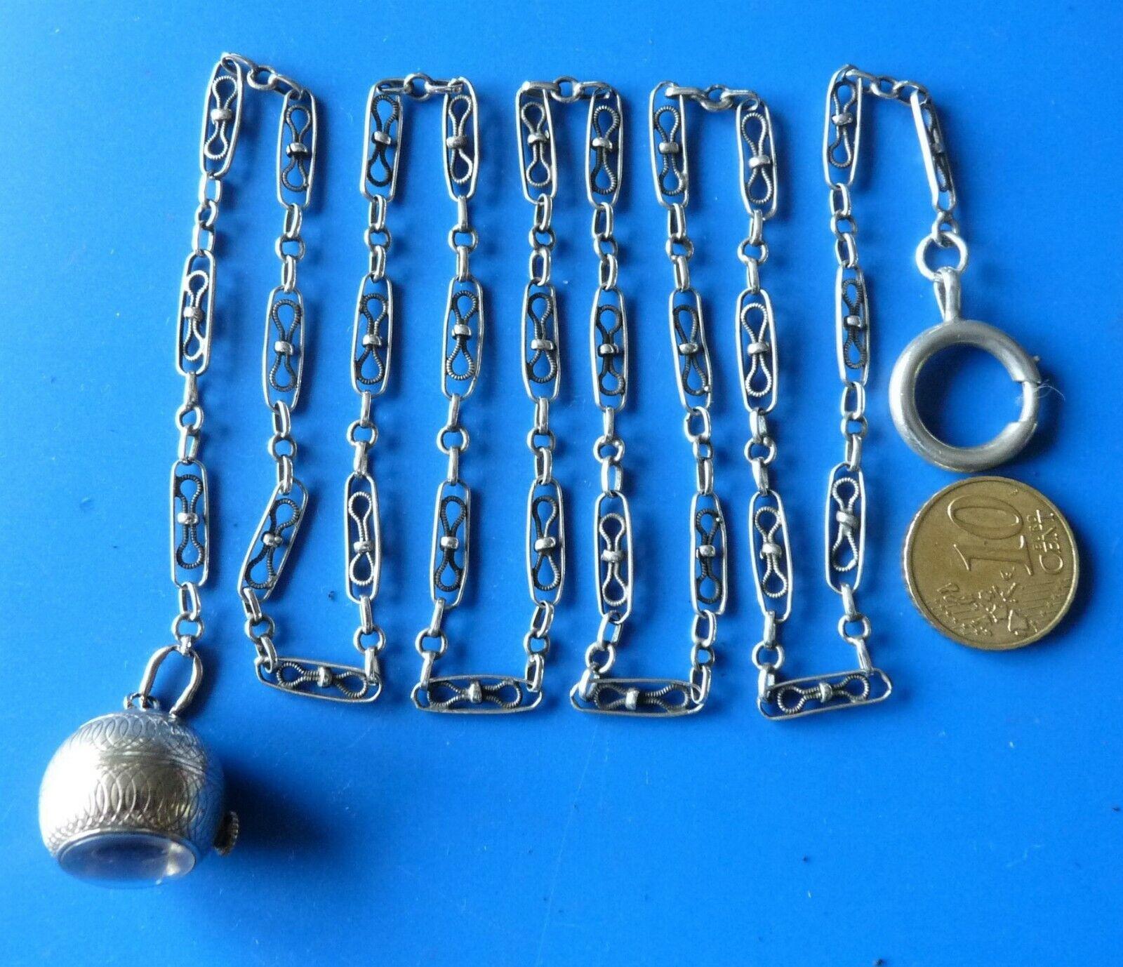 Antique solid silver xix chain watch pocket ancien chaine montre argent massif