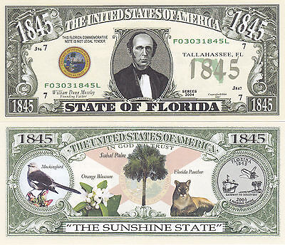 Two Florida FL State Quarter Novelty Currency Bills #125 Fl State