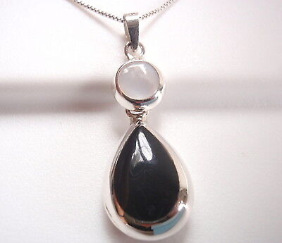 Pearl Black Onyx - Reversible Black Onyx and Mother of Pearl 925 Sterling Silver Square Pendant