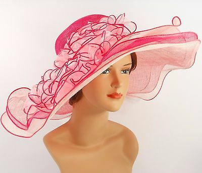 Church Kentucky Derby Wedding Sinamay Wide Brim Dress Hat 2974 Pink & Off White